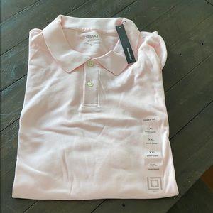 Men's pink polo shirt sleeve shirt
